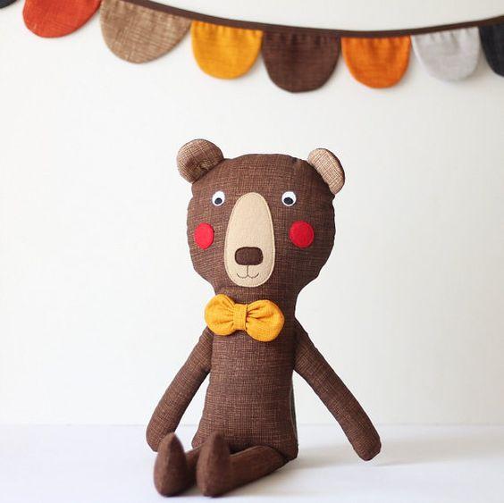 Brown bear with a mustard bow tie. Handmade stuffed bear. Modern nursery art. Animal toy for kids. Nursery decor. Gift idea for boys.