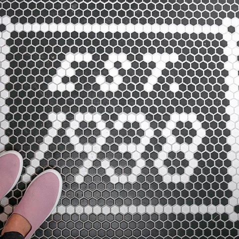 I Had So Much Fun Working With Centuratile 1x1 Inch Hexagon Tile To Come Up With The Custom Tile Mat For My Front Entrance There Are In 2019 Hexagon Tiles