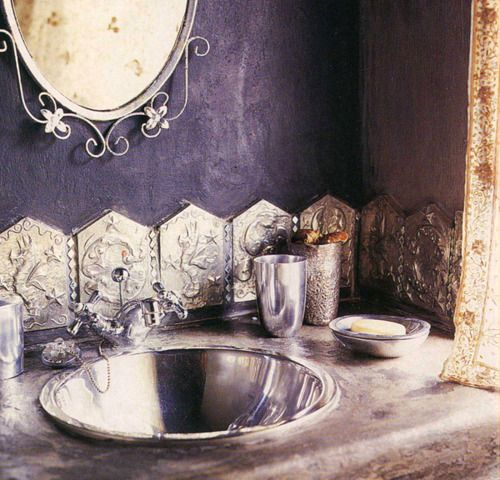 Bathroom silver sink mirror splash board lofty spaces - Purple and silver bathroom ...