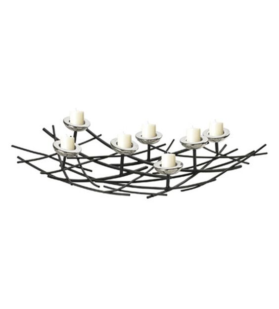 Iron Nest Candle Holder In Black / Chrome