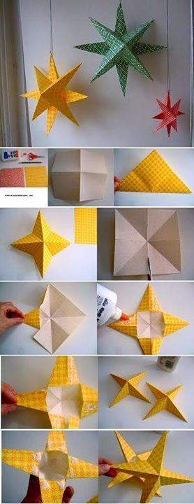Origami de estrela em 3D     Ficam lindas para decoração de natal ou ano novo   Veja o passo a passo em fotos: