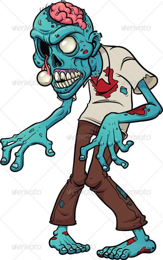 Cartoon Characters Zombies : Cartoon zombie blue brain character
