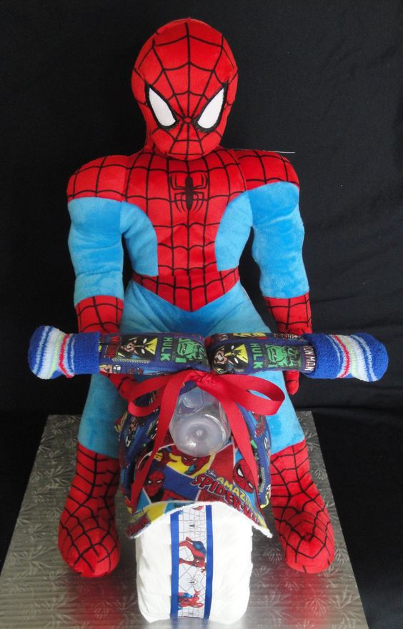 Marvel Comic/Spider-man Motorcycle Themed Diaper Cake www ...