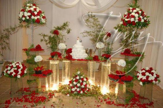 mesas de festa vermelho e dourado simples - Pesquisa Google