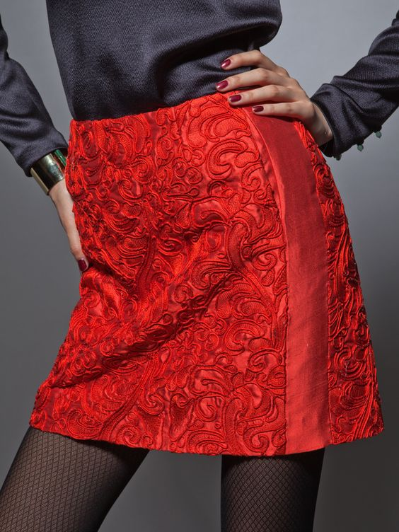 silk embroidered skirt