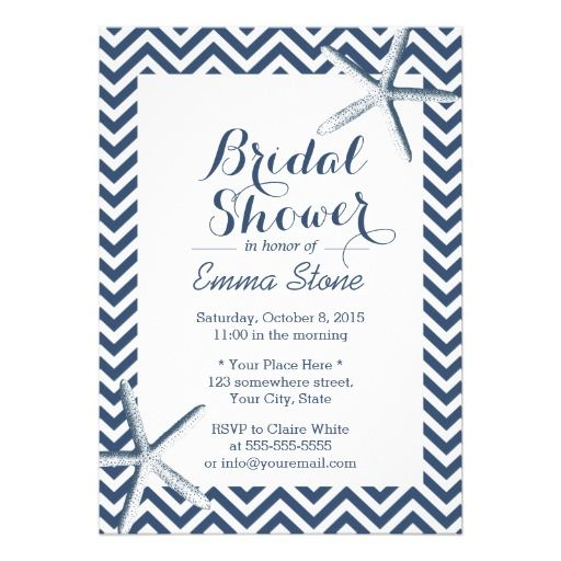 See MoreClassy Starfish Chevron Stripes Bridal Shower Personalized AnnouncementIn our offer link above you will see