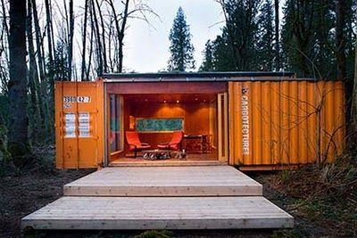 Shipping Container home cabin  http://homeinabox.blogspot.com/