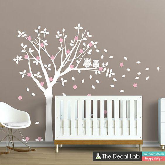 Hiboux en sticker mural arbre ensemble  Nursery Wall par DecalLab