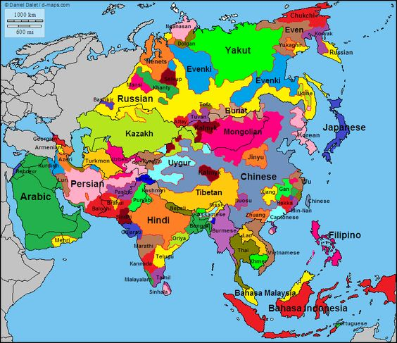 This map shows the various languages across Asia It is really – Asia on the Map