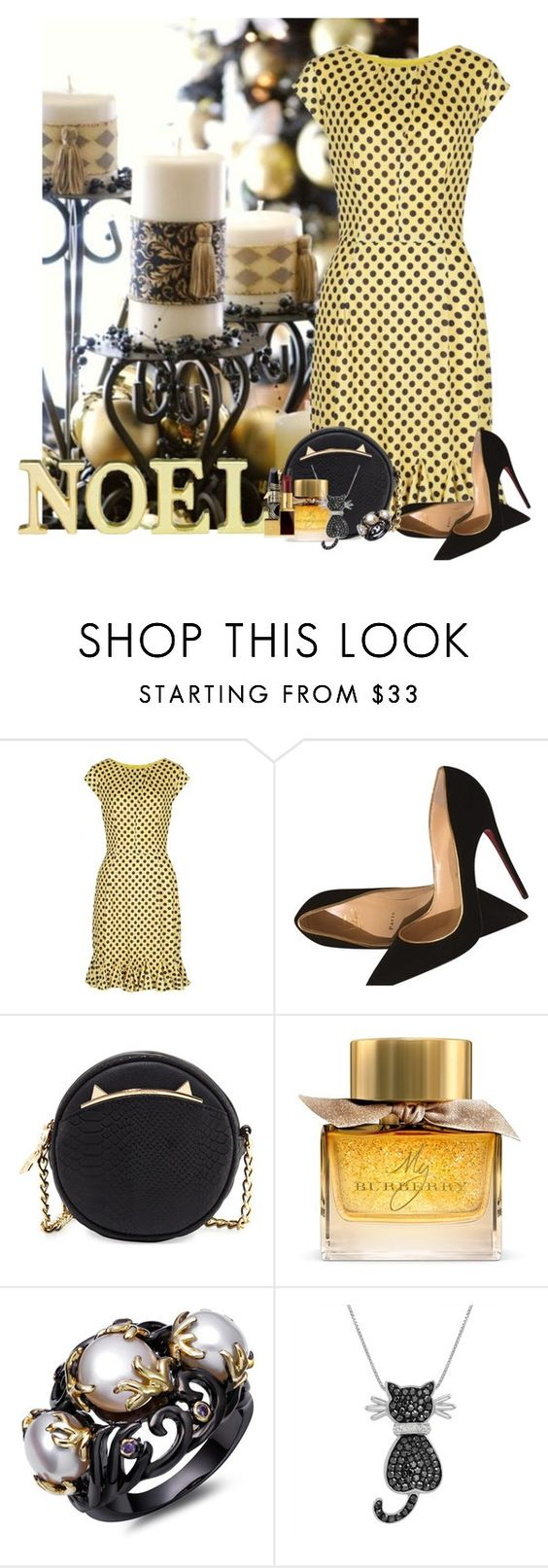 """""""Christmas Candles and Cats"""" by stephaniefb ❤ liked on Polyvore featuring Christian Louboutin, Betsey Johnson, Burberry, Amanda Rose Collection, Laura Ashley and Max Factor"""