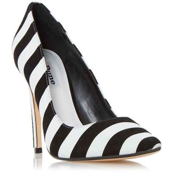 Dune Bellisimo monochrome striped court shoes ❤ liked on Polyvore featuring shoes, pumps, black and white stripe shoes, black white shoes, striped shoes, stripe shoes and black and white striped shoes