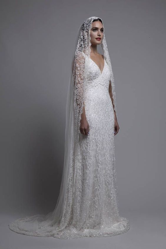 mantilla veil hair down - Google Search
