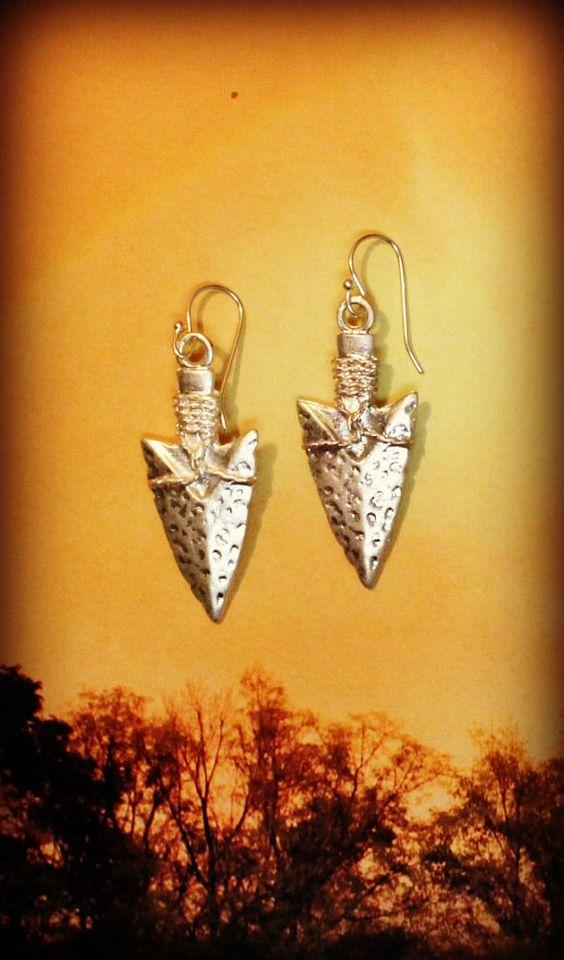 Matte Silver Arrow Head Earrings Tribal Simple by BohemianWhimSea, $20.00