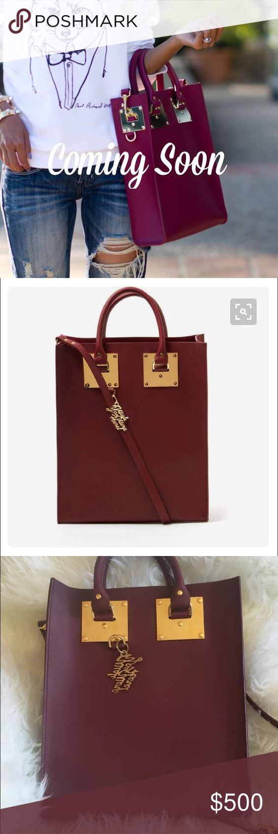 """Auth Sophie Hulme Albino Mini Tote Burgundy Plum TAKING OFFERS ON THIS BEAUTIFUL Authentic Sophie Hulme Albion Mini tote in burgundy plum saddle leather will be the highlight of your new-season outfits. Gold plated brass hardware. Signature style returns with a pop of colour and """"wish you were here"""" charm. Attach optional strap to carry as cross body. It is the perfect size to fit your essentials! Made in Hungary. Internal slip pocket. Great condition! Width 26.6cm Height 32cm Depth 8cm…"""
