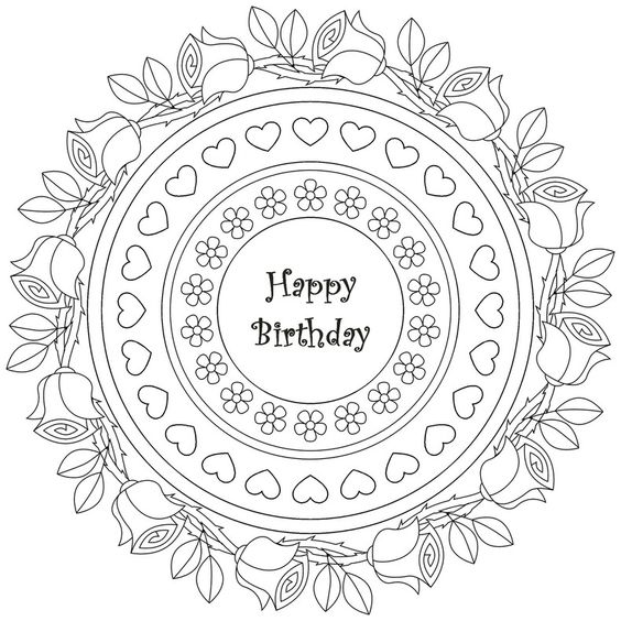 birthday mandala coloring pages images