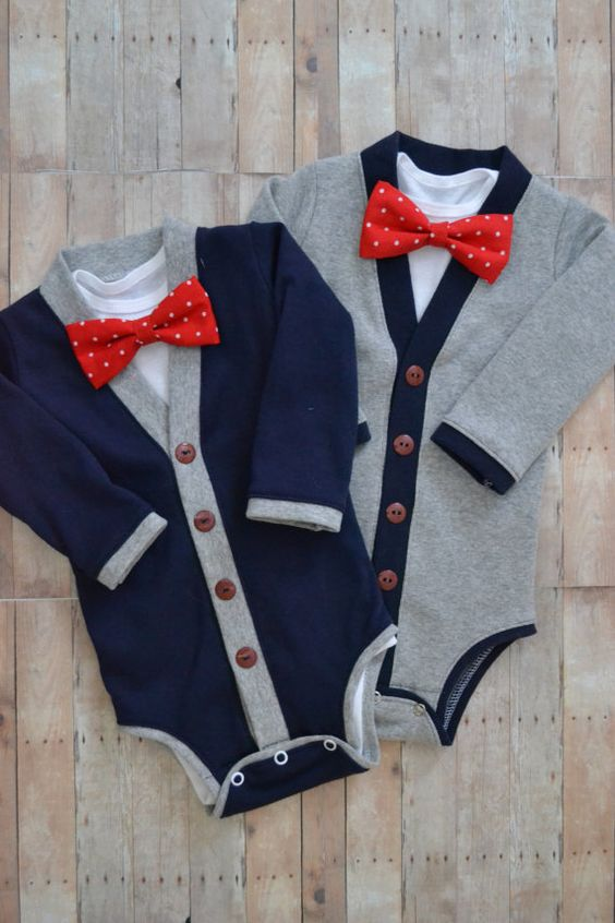 Twin Baby Cardigan One Piece Set: Navy and Gray with Interchangeable Tie Shirts and Bow Ties on Etsy, $65.00