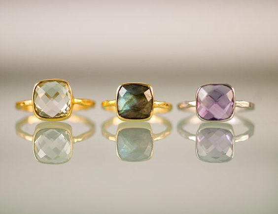 Green Amethyst ring in 18k gold vermeil bezel by Masha
