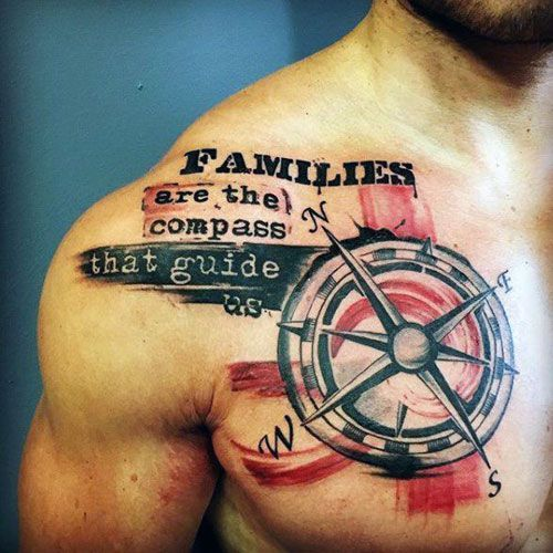 Chest Meaningful Compass Tattoo Design