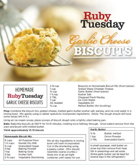 Ruby Tuesday cheese biscuits