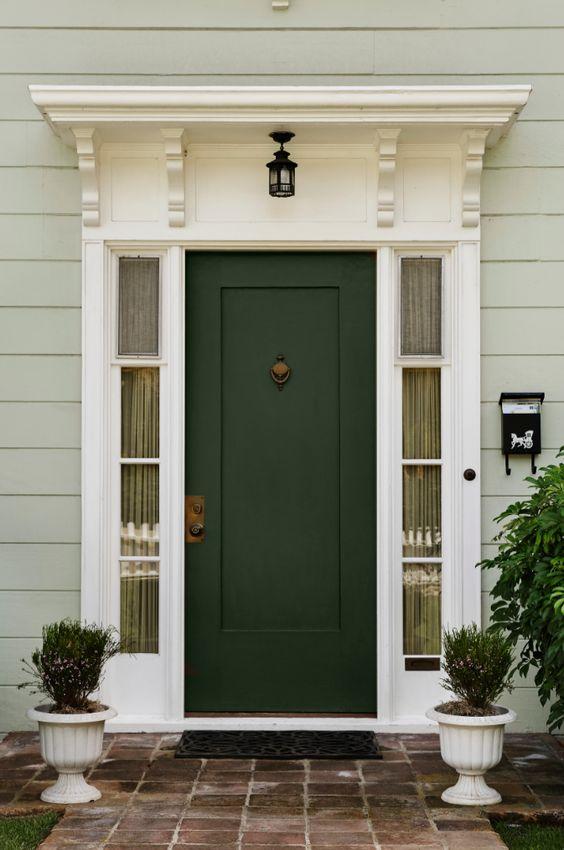 dark green front door