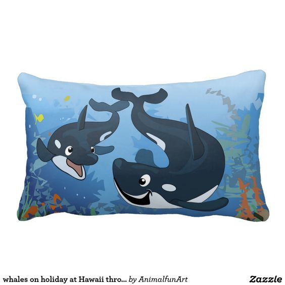 whales on holiday at Hawaii throw pillow