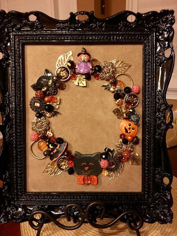 Halloween jewelry wreath by Beth Turchi 2016