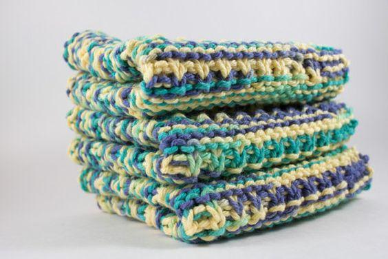 Hand Knit Dishcloth Set  Hand Knit Washcloth  by HandKnittingLinda