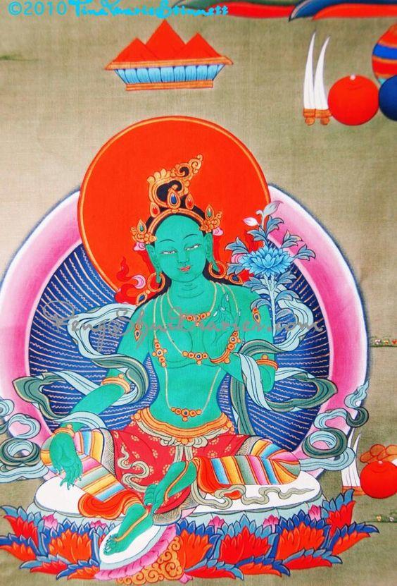 Tibetan Buddhist Goddess Green Tara - paz - fé - espiritualidade - esperança - amor - energia - oração - meditação - reflexão -  conhecimento