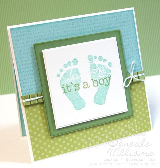 Stampin Up - Baby Print stamp set. Adorable card. Change colours for boy or girl. Front and inside decorated