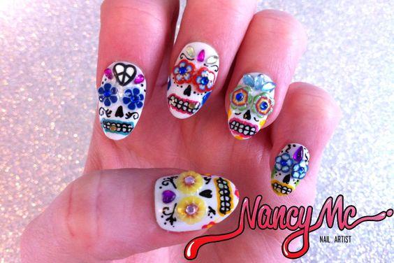 Sugar Skulls!Dia De Los Muertos - Day of the Dead #Nails