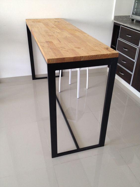 Mesa hierro y madera desayunador cocina mesas for Mesa desayunador