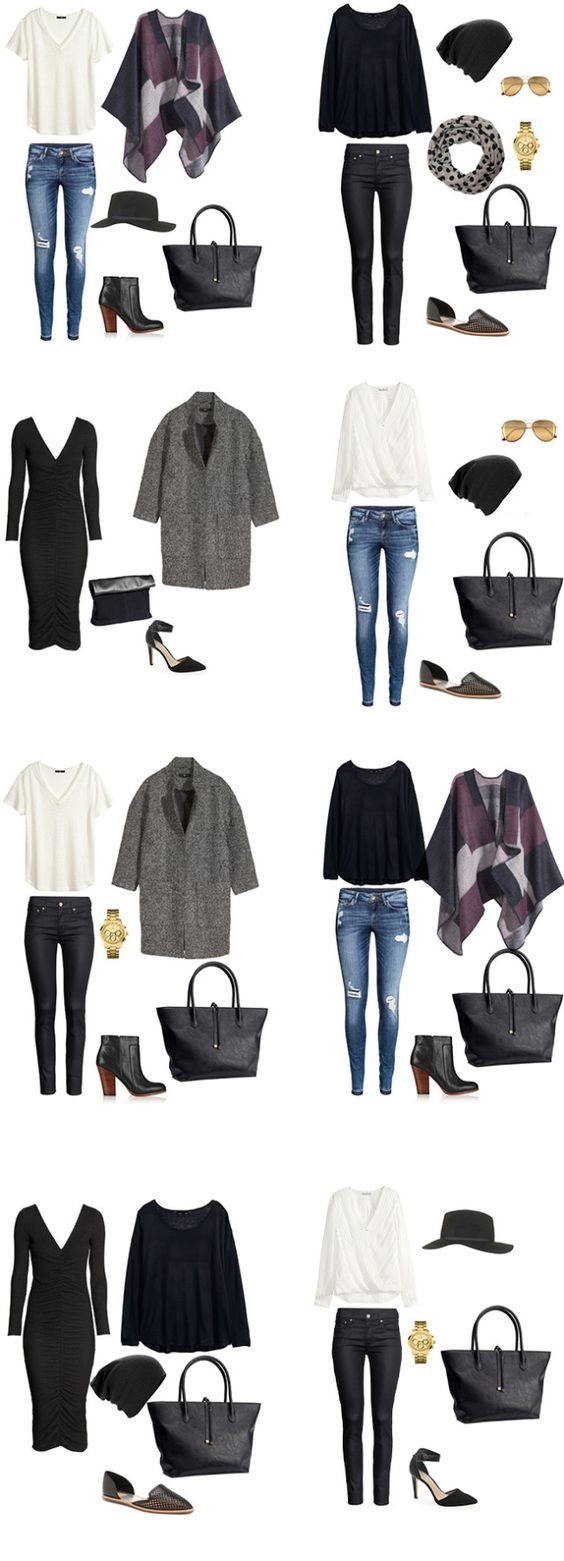 5 Days in NYC Packing Light Packing List Outfit Options. The full packing list is located on the blog #packinglight #travellight #packinglist