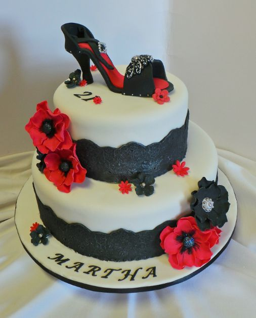 21st high heel birthday cake with fondant lace and