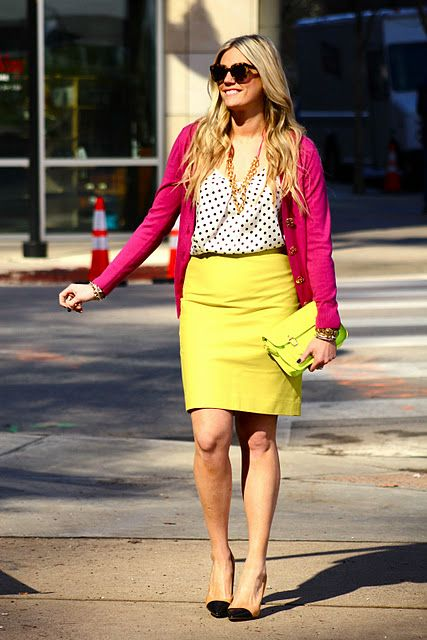 yellow, pink, polka dots: Arti S Style, Fashion Style, Mixing Colors Patterns, Outfit Inspiration, Fashion Inspiration, Bright Skirts, Bright Colors
