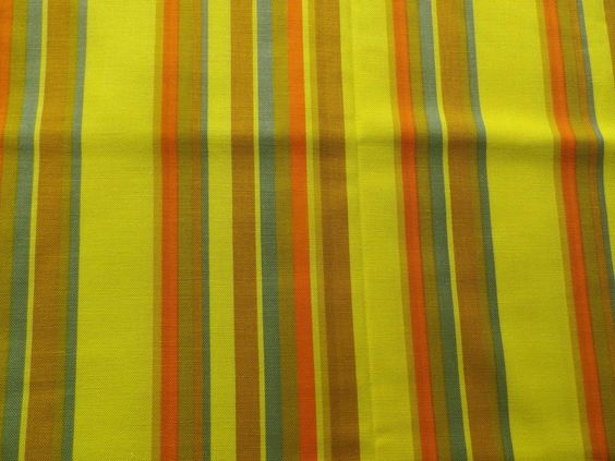 Vintage Narrow Width Crisp Cotton Interiors Fabric Yellow Orange Green Stripes in Collectables, Sewing/ Fabric/ Textiles, Fabric/ Textiles | eBay