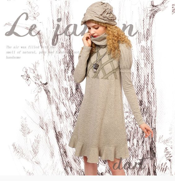 樹夏2015冬裝新款女裝複古拼接花邊高領泡泡袖連衣裙ZA10356Q-淘寶網