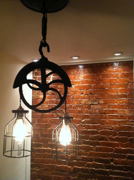 re purposed farm well wheel industrial light