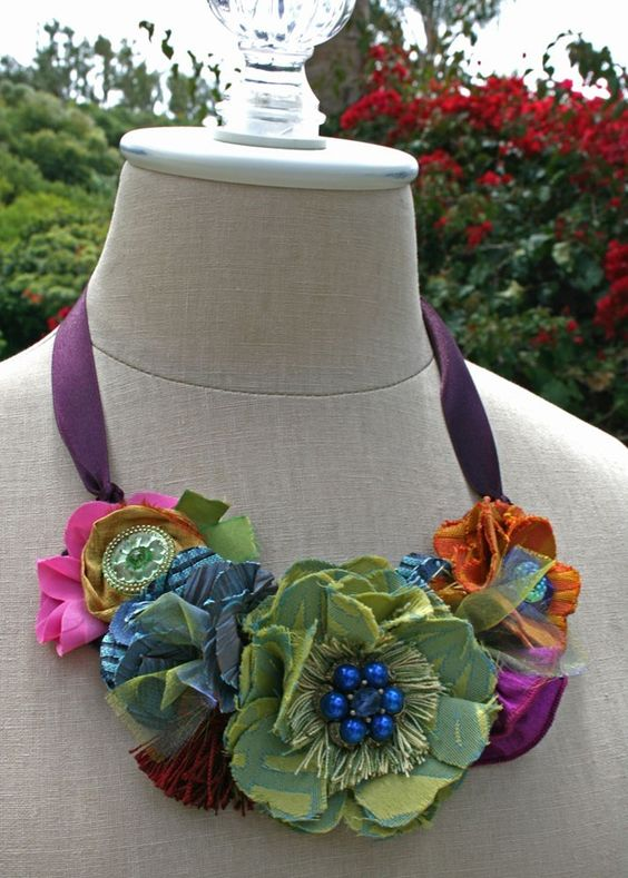Fabric Flowers Bib Statement Necklace in Bold Beautiful Colors: