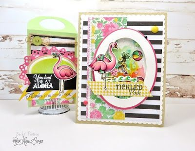 Kraftin' Kimmie FANCY FLAMINGOS Stamp Set Beach Summer Ocean Shaker Card Copics #KraftinKimmie www.KraftinKimmieStamps.com: