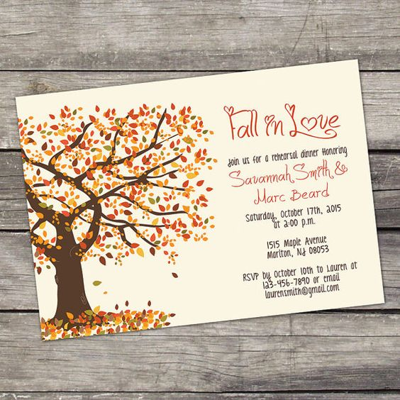 YOU PRINT Fall Tree Rehearsal Dinner Invitation Digital File 4x6 or 5x7 Fall Rehearsal Dinner Invitations - 105