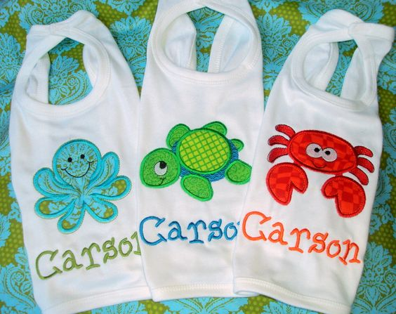 Personalized Under the Sea Bib Set of Three - Ocean Themed ... - photo#28