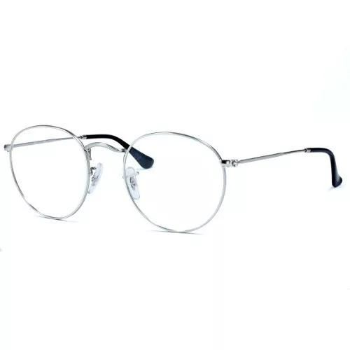 Armacao Oculos Grau Masculina Cinz Redonda Round Metal Em Brasil