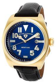 Armbåndsur til mænd med elegant guld/blå urkasse - Swiss Legend Heritage SL-20434-YG-03