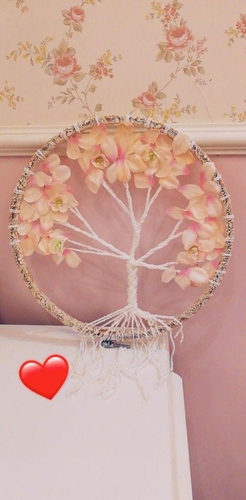 Dream Catcher With Tree Look دريم كاتشر بشكل شجر باستخدام طار التطريز Handcraft