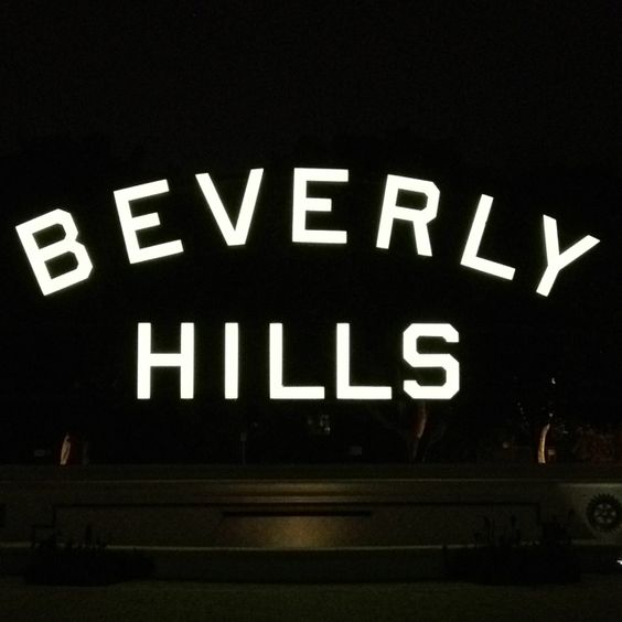Beverly Hills sign, at night!