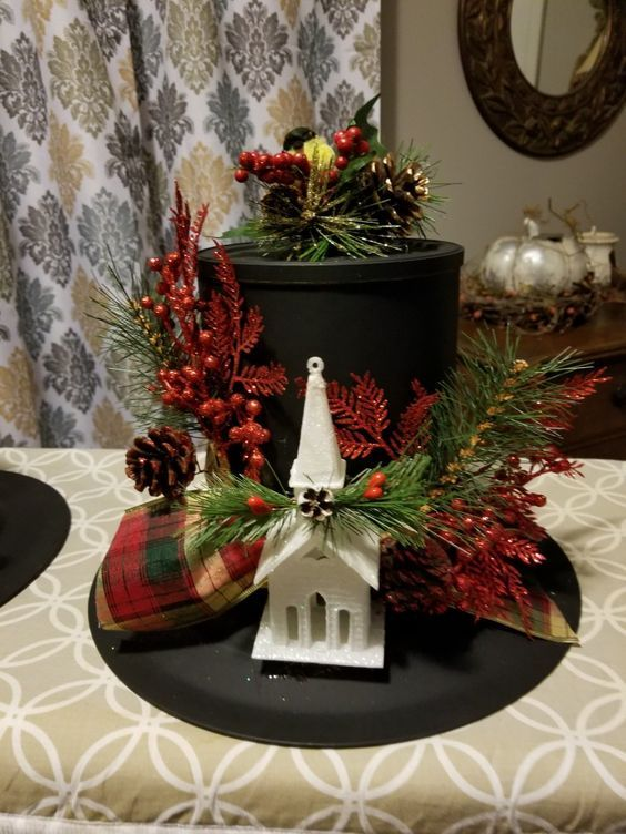 Easy And Fun Christmas Table Centerpiece Decorations Snowmen Top Hats Xmas Crafts Christmas Table Centerpieces Christmas Table Decorations