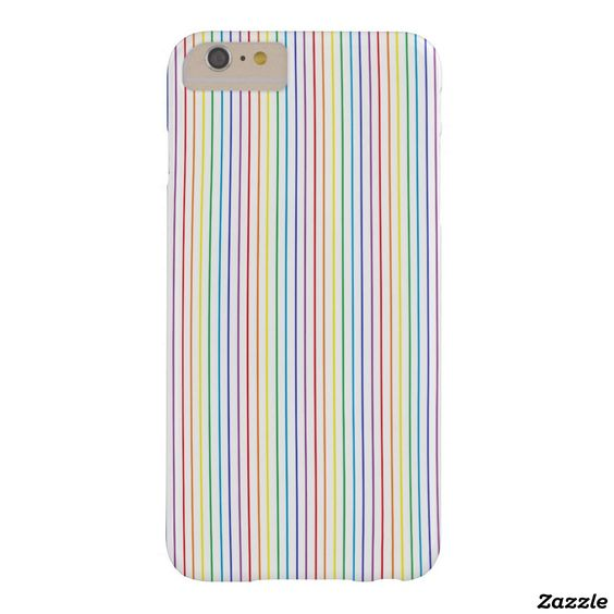 Pinstripe Rainbow White Barely There iPhone 6 Plus Case