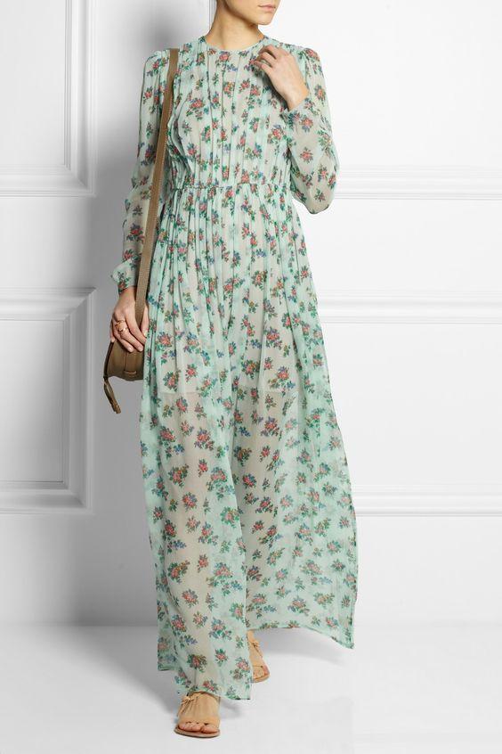 MSGM  Floral-print silk-chiffon maxi dress  NET-A-PORTER.COM ...