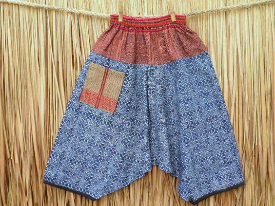 Kids Harem Pants Bohemian Trousers Hmong  Indigo Batik by DekDoi, $30.00