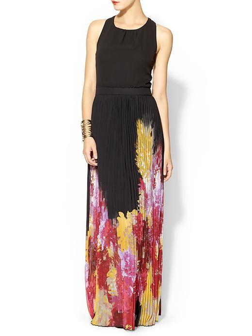 Sabine Pleated Floral Maxi Dress